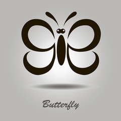 Vector icon with butterfly