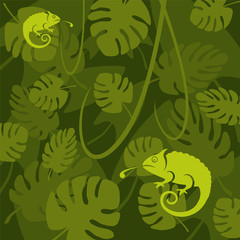 Vector chameleon on a leaf background