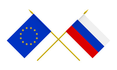 Flags, Russia and European Union