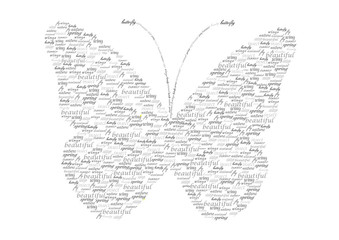 vintage vector butterfly made of words