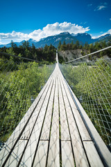 Hanging bridge over seasonal river