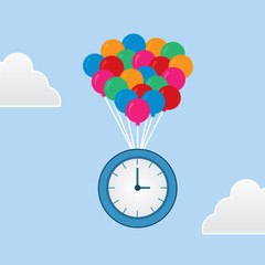 Clock floating from bunch of balloons