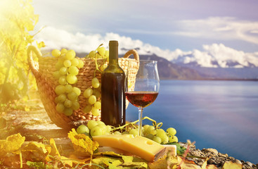 Red wine and grapes on the terrace of vineyard in Lavaux region,