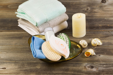 Spa basic Hygiene Accessories on Rustic Wood