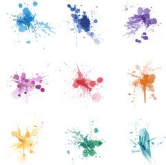Paint splat colors set collection