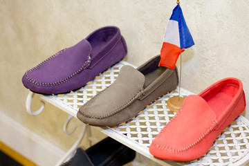 Thre men loafers over white