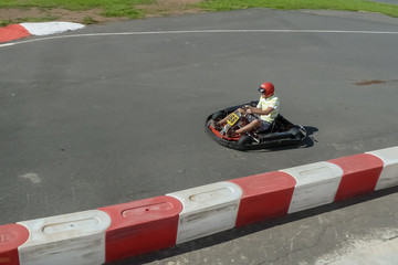 Man racing go karts