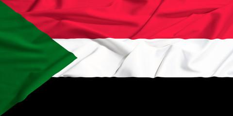sudan flag on a silk drape waving