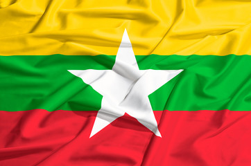 Myanmar flag on a silk drape waving