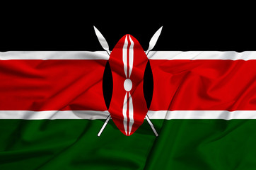 Kenya flag on a silk drape waving