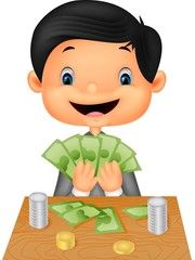 Cartoon boy counting the money