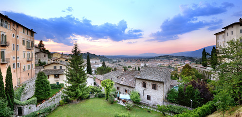 Spoleto, Umbria, panorama at sunset