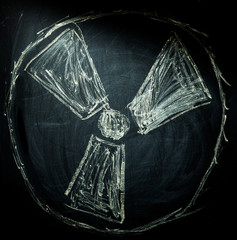 radiation sign on a blackboard