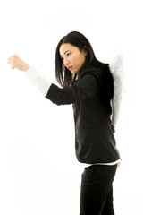 Asian young businesswoman dressed up as an angel punching with