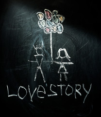 lovestory symbols on a blackboard