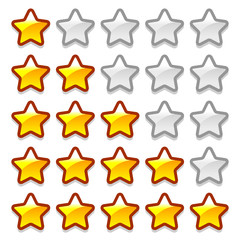 Game web rating stars set