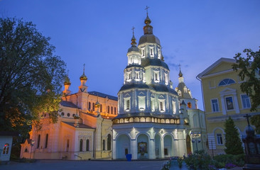 Cathedral of the Holy Virgin Protection at night in Kharkov.