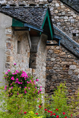 Stone building with pink rose plant in France.