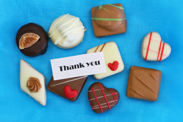 Thank you card with selection of chocolates