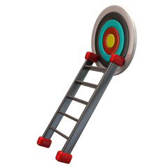 Target aim and ladder isolated on white background