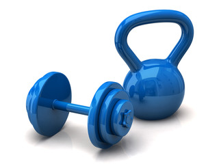 Blue dumbbell