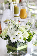 Beautiful wedding decorations on the table before celebration