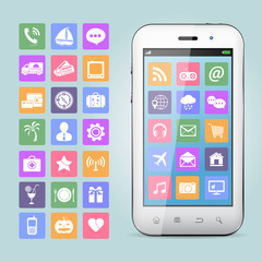 Mobile phone with app icons