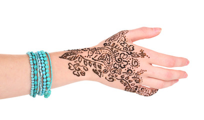 Hand painted with henna, isolated on white