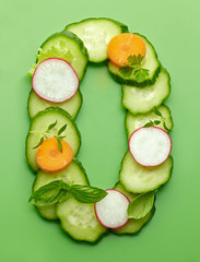 O letter made of raw vegetables