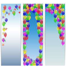 Set of greeting banners happy birthday with balloons.