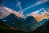 Mountains in Glacier at Sunset