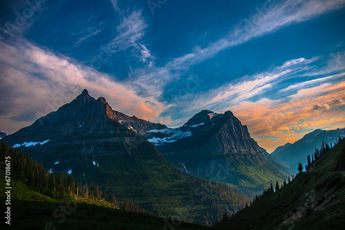 Mountains in Glacier at Sunset © Pix by Marti