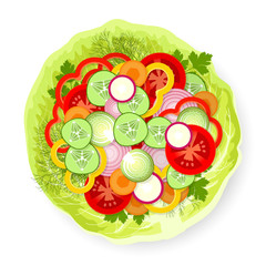Vegetables on cabbage leaf