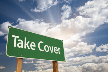 Take Cover Green Road Sign