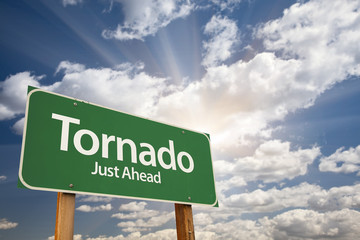 Tornado Green Road Sign