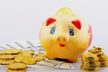 Piggy bank with coins and banknotes
