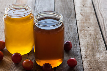 Two jars of honey