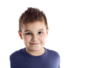 Boy in blue t-shirt isolated on white