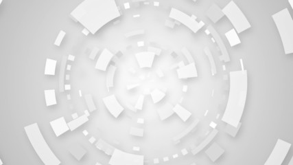 white techno circular segments loop background