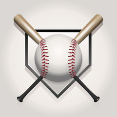Baseball, Bat, Homeplate Illustration