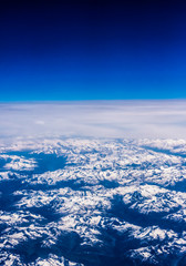 Landscape of Mountain. view from the airplane window . height of