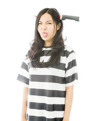 Asian young woman wearing knife shaped hair band in prisoners