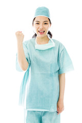 Asian female surgeon punches fist into the air isolated on white