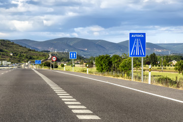 Traffic signs in Spain road.