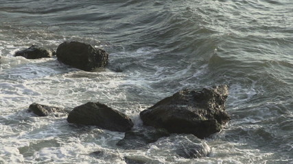 Turbulent water on a rocky coastline
