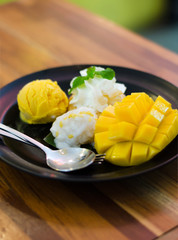 Mango, mango pudding, mango ice cream with sticky rice