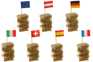 European flag on Wholemeal brown bread