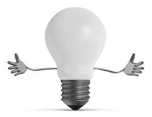 White welcoming light bulb character isolated