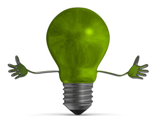Green welcoming light bulb character isolated
