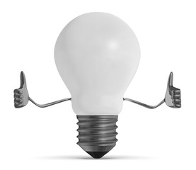 White light bulb character giving thumbs up isolated